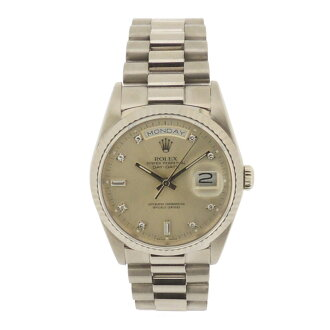 ROLEX18239A D date K18WG 10P diamond watch WG/SS men