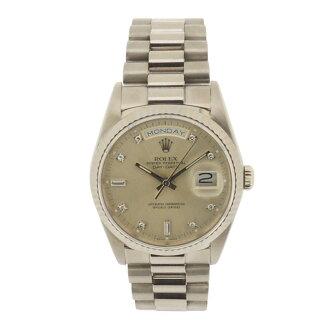 ROLEX18239A D date K18WG 10P diamond watch WG/SS men