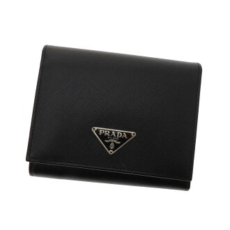 Folio wallet (there is a coin purse) leather unisex with the PRADA logo plate