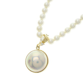 Penguin and baby Pearl Necklace K18 gold ladies