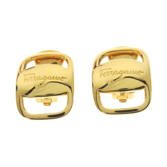 Salvatore Ferragamo logo carved seal earrings Lady's