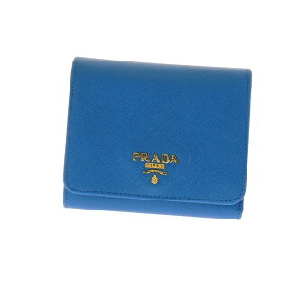 PRADA logo folio wallet (there is a coin purse) leather Lady's belonging to