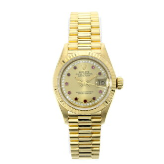Finish ROLEX date just 69178LR champagne dial OH; watch K18YG Lady's