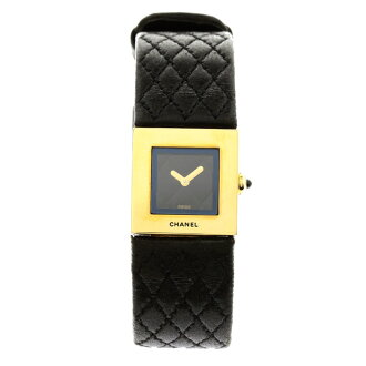 CHANEL matelasse watch K18YG/ Boletopsis leucomelas Lady's