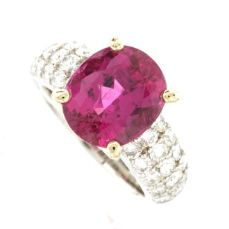 Rubellite ring K18 18kt Yellow Gold / Platinum PT900 ladies