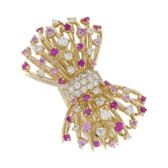 Ponte Vecchio Sapphire diamond Ribbon ring ring K18 Pink ladies