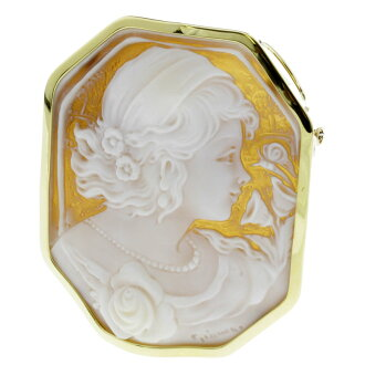 Cameo brooch K18 18kt yellow gold ladies