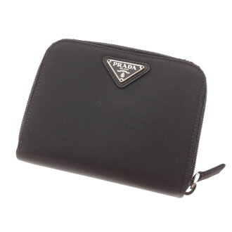 PRADA ラウンドファスナーコンパクト wallet 2 fold wallet ( purses and ) leather unisex