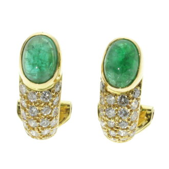 Emerald and diamond earrings K18 yellow gold ladies