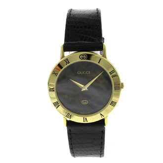 GUCCI3000M watch SS / leather men's