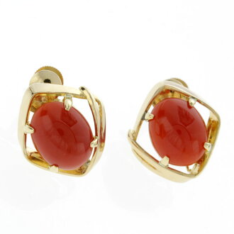SELECT JEWELRY coral earrings K18 yellow gold Lady's fs3gm