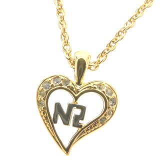 NINA RICCI heart motif rhinestone necklace pendant Golden pearl Lady's
