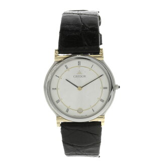 SEIKO credor 7779-6000 watch SS / black leather men's