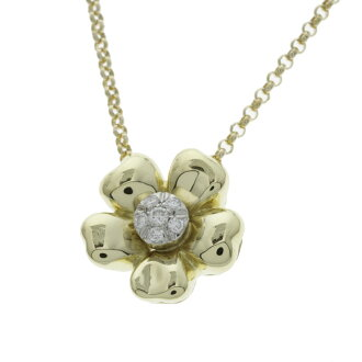 Ponte Vecchio diamond necklace K18 18kt yellow gold ladies