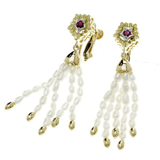 SELECT JEWELRY pearl / ruby earrings K18 yellow gold Lady's fs3gm