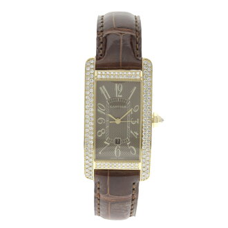 CARTIER tank American MM watch YG / leather mens fs3gm