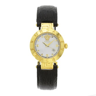 Gianni Versace round case watch GP / leather men's