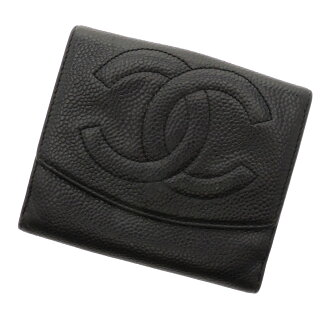 CHANELW hook folio wallet (there is a coin purse) caviar skin Lady's