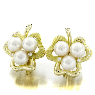 Pearl and diamond earrings K18 18kt yellow gold ladies