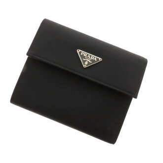 Folio wallet (there is a coin purse) nylon material unisex with the PRADA three fold logo plate