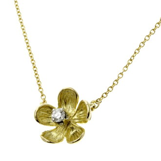 TIFFANY&Co. Flower 1P diamond necklace pendant K18 gold Lady's fs3gm