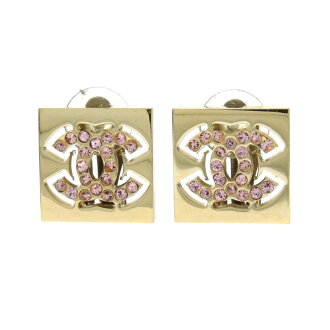 Lady's made by CHANEL square here mark rhinestone earrings metal