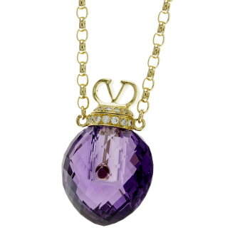 VALENTINO amethyst / ruby / diamond necklace K18 gold Lady's fs3gm