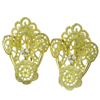 JUNE diamond earrings K18 18kt yellow gold ladies