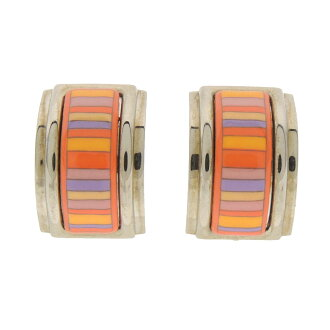 Lady's fs3gm made by HERMES horizontal stripe earrings metal