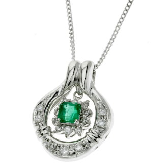 SELECT JEWELRY Emerald and diamond necklace Platinum PT900/Pt850 ladies