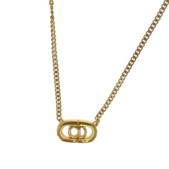 Lady's fs3gm made by CHRISTIAN DIOR logo motif necklace metal