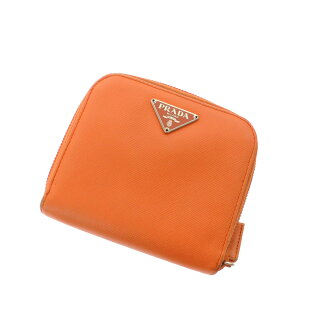 PRADA logo motif round fastener coin purse folio wallet (there is a coin purse) leather Lady's