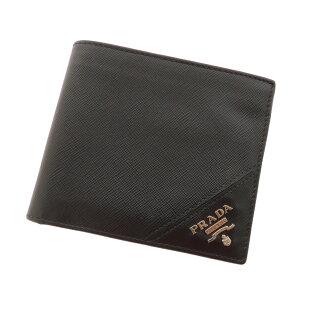 PRADA slim two fold wallet ( purses and ) leather unisex fs3gm