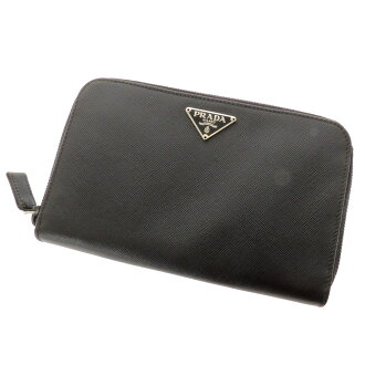 PRADA round fastener folio wallet (there is a coin purse) leather Lady's