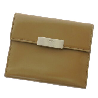 PRADA logo plate with 2 fold wallet ( purses and ) leather ladies