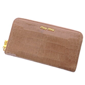 MIUMIU round fastener long wallet (there is a coin purse) leather Lady's fs3gm