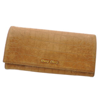 MIUMIU Croc-down wallets (purses and) enamel x Leather Womens upup7