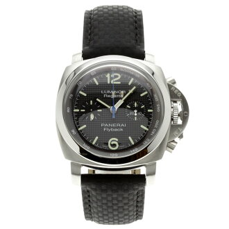 OFFICINE PANERAI PAM00253 luminor 1950 Flyback Regatta Watch stainless steel and black leather mens upup7