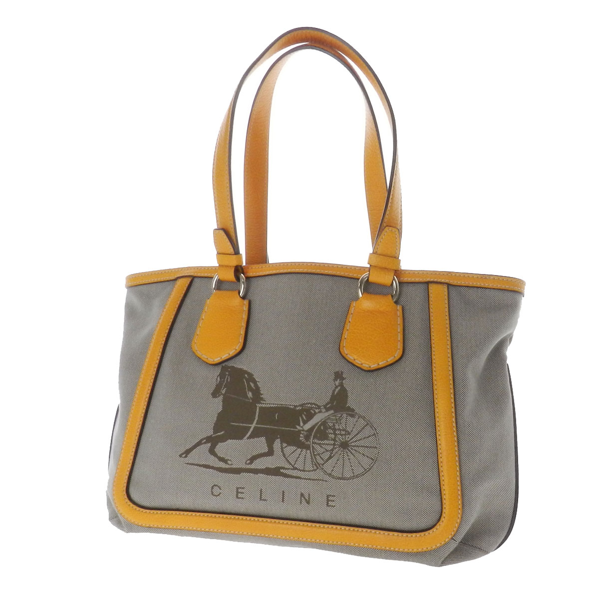 Authentic CELINE Logo design horse-drawn carriage Tote Bag Leather x ...