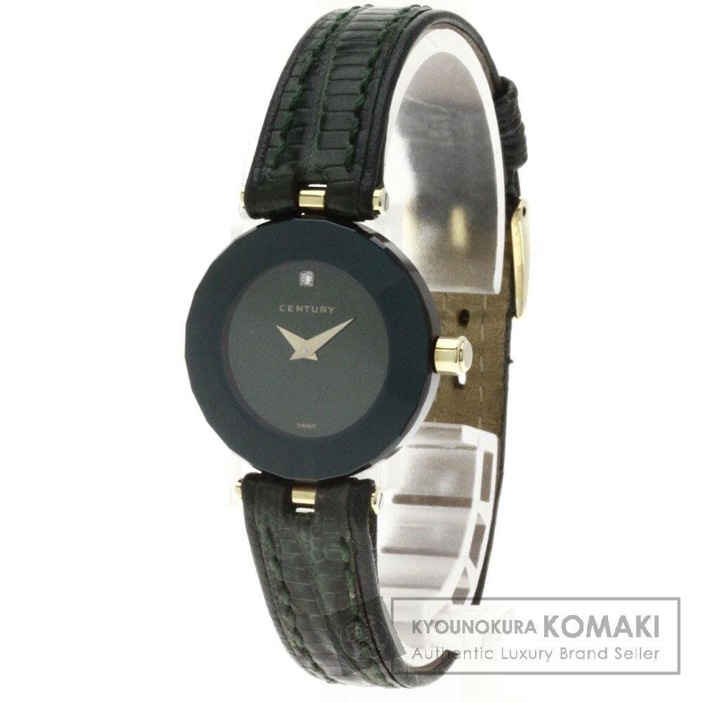 CENTURY【センチュリー】 プライムタイム 1Pダイヤモンド 腕時計 K18イエローゴールド/リザード レディース 【】