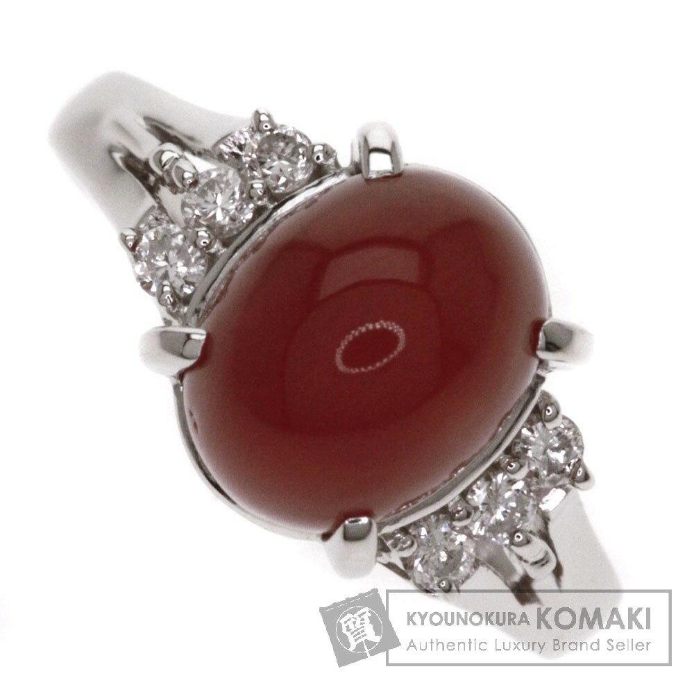 0.136ct サンゴ/ダイヤモンド リング・指輪 プラチナPT900 4.9g レディース 【中古】