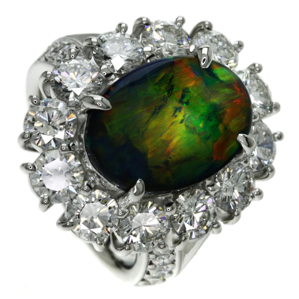 3.919ct ブラックオパール/ダイヤモンド リング・指輪 プラチナPT900 15.2g レディース 【中古】
