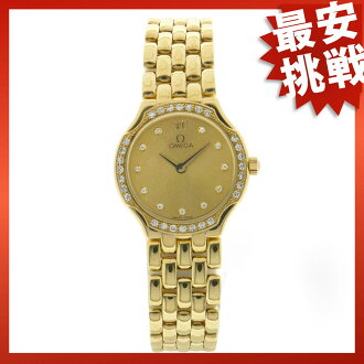 OMEGA round bezel diamond watch K18 Lady's