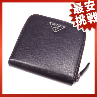 PRADA round fastener M605A folio wallet (there is a coin purse) leather Lady's