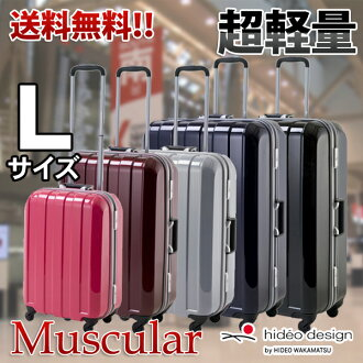 Suitcase carry case HIDEO WAKAMATSU Hideo Wakamatsu's lightest PC 100% mirror frame type muscular large 4-wheel L size large casters for 10P13oct13_b fs3gm