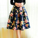 ショッピングbalance 【KyrieLife】新作春スカート リゾート 花柄 フレアスカート レディース スカート ひざ丈 ミモレ丈 フレア 色鮮やかなフローラルパターンが大人上品なフレアスカート 丈感と豊かな膨らみがバランス良くマッチすることで高級感ある
