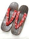 ショッピングビニール 女性用桐下駄 レディース LLサイズ 赤 桜 170424-1