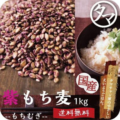 レア食材!【送料無料】超希少な紫もち麦1kg(福岡県産/28年度産)紫が濃い状態で収穫したもち麦です。もち麦に比べてポリフェノールの1種、アントシアニジンを多く含み水分量が多く、より一層もちもちぷちぷちの食感|国産もち麦 無添加 もちむぎ 健康食品 美容