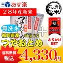 【無洗米】(28年産新米)ふりかけセット特別栽培米 福岡県産つやおとめ 5kg×2袋 【10kg】(米)(お米)(送料無料)