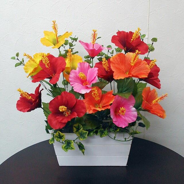 【ハイビスカス/ウッドプランター】アーティフィシャルフラワー「造花」光触媒コーティング
